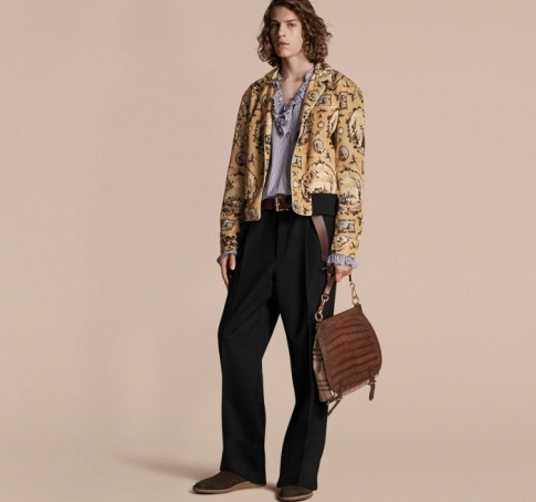 Tudor Burberry Wallpaper Print Bomber Jacket
