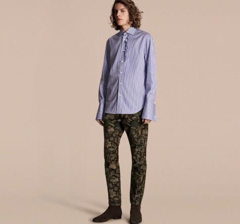 Tudor Burberry Slim Fit Floral Jacquard Jeans