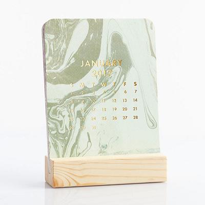 2017 Paper Source Marbled Easel Box Desk Calendar
