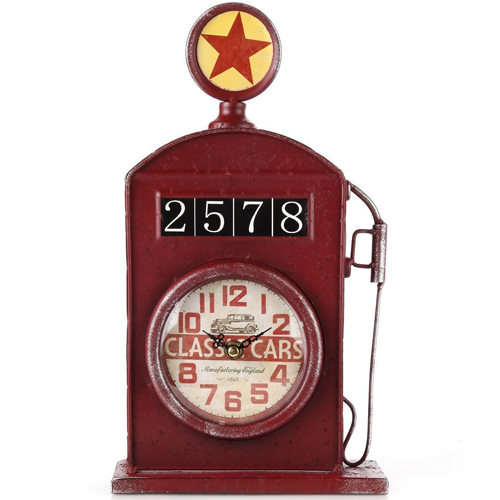 Lilys Home-Antique Inspired English Red Gas Pump Mantle Clock