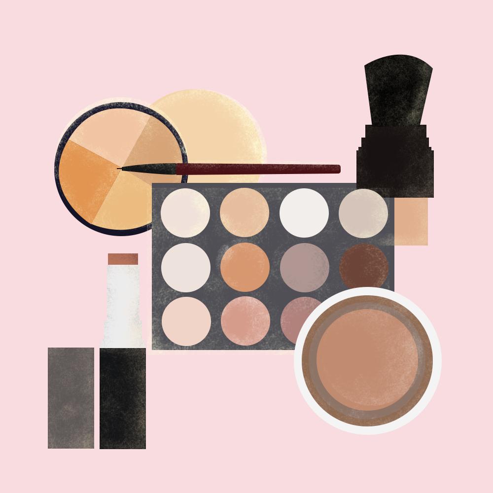 Illustration of no-makeup makeup products