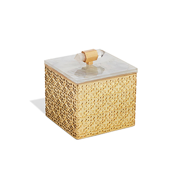 Kendra Scott Square Filigree Box in Crackle White Pearl