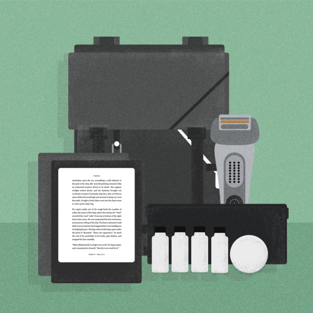 Illustration of men's travel kit