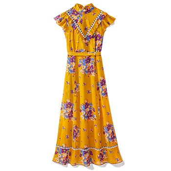 GANNI Black Floral Dress